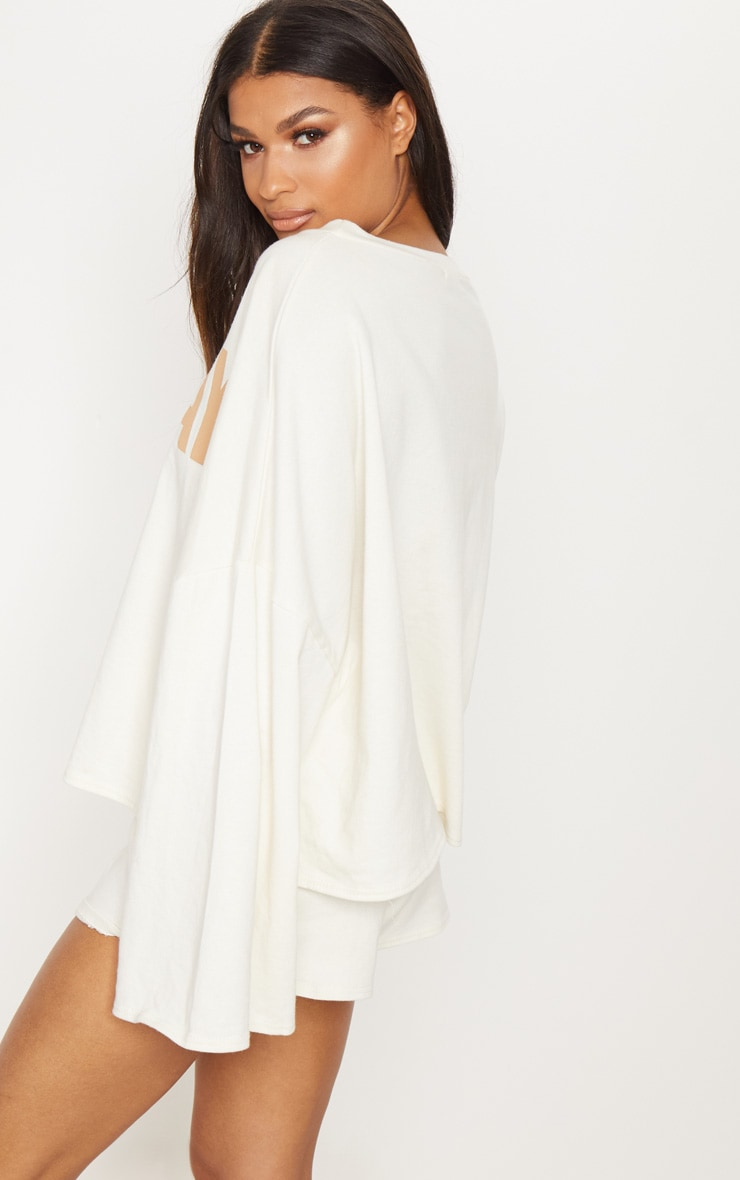 PRETTYLITTLETHING Sand Sunday Slogan Off Shoulder Sweater Buy Cheap Supply Shop For Sale Discount Explore FRFBJm3GiO