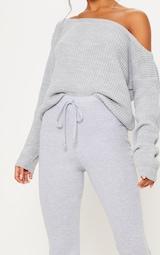 Grey Cotton Drawstring Waist Flare Pants 4