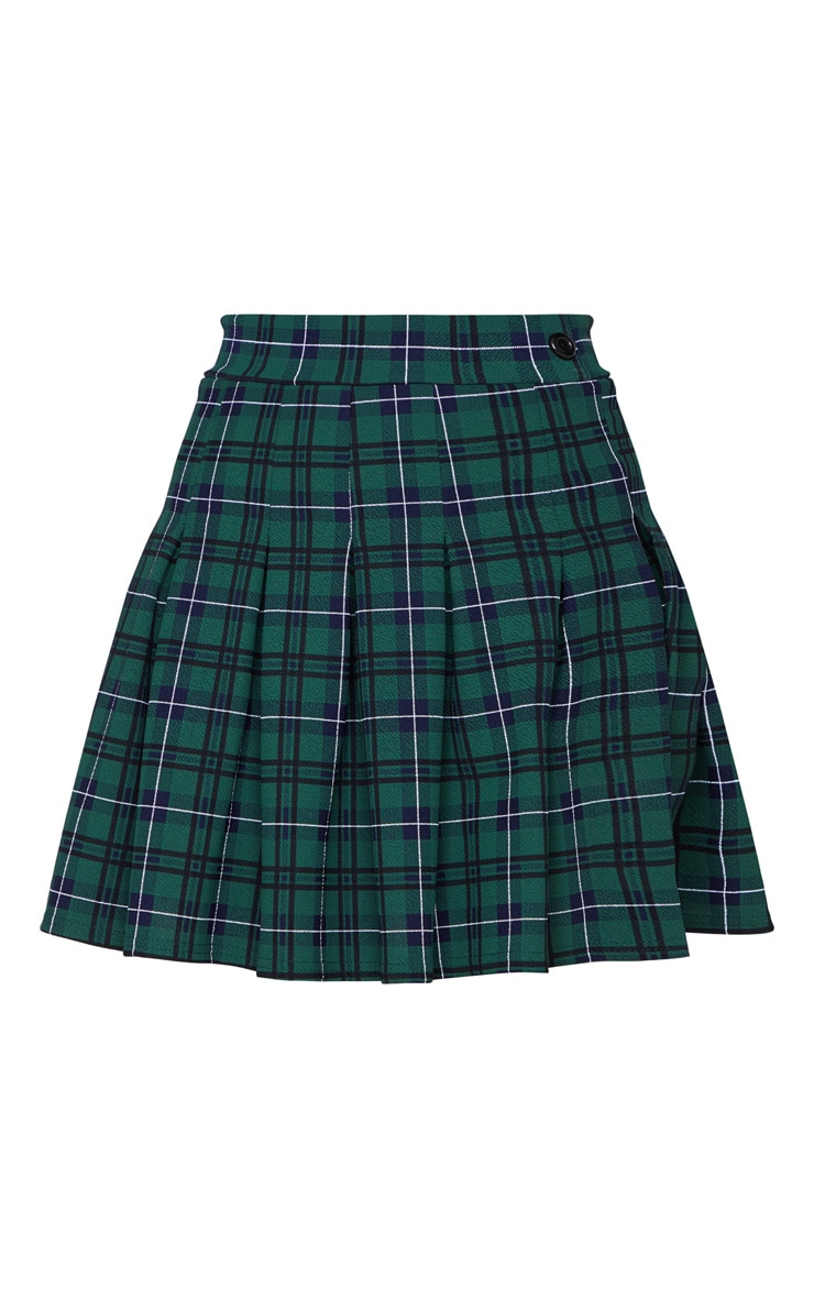 Green Check Tennis Side Split Skirt 3
