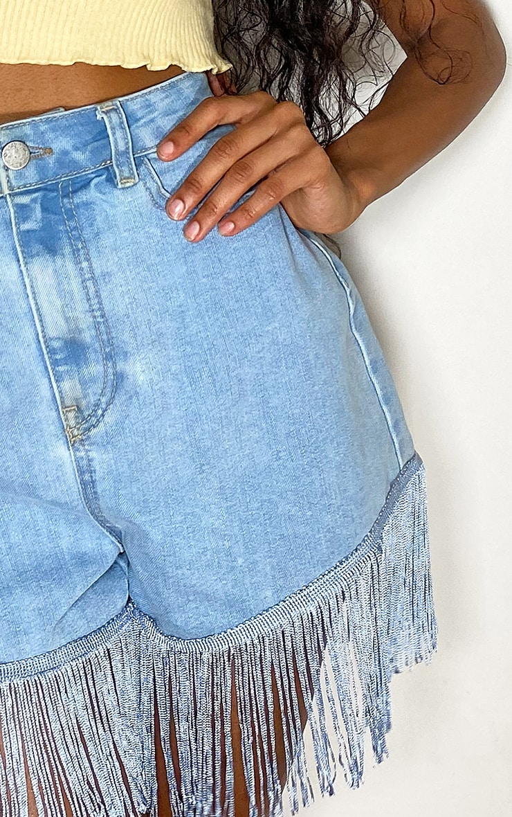 Light Blue Wash Tassel Hem Denim Shorts 5