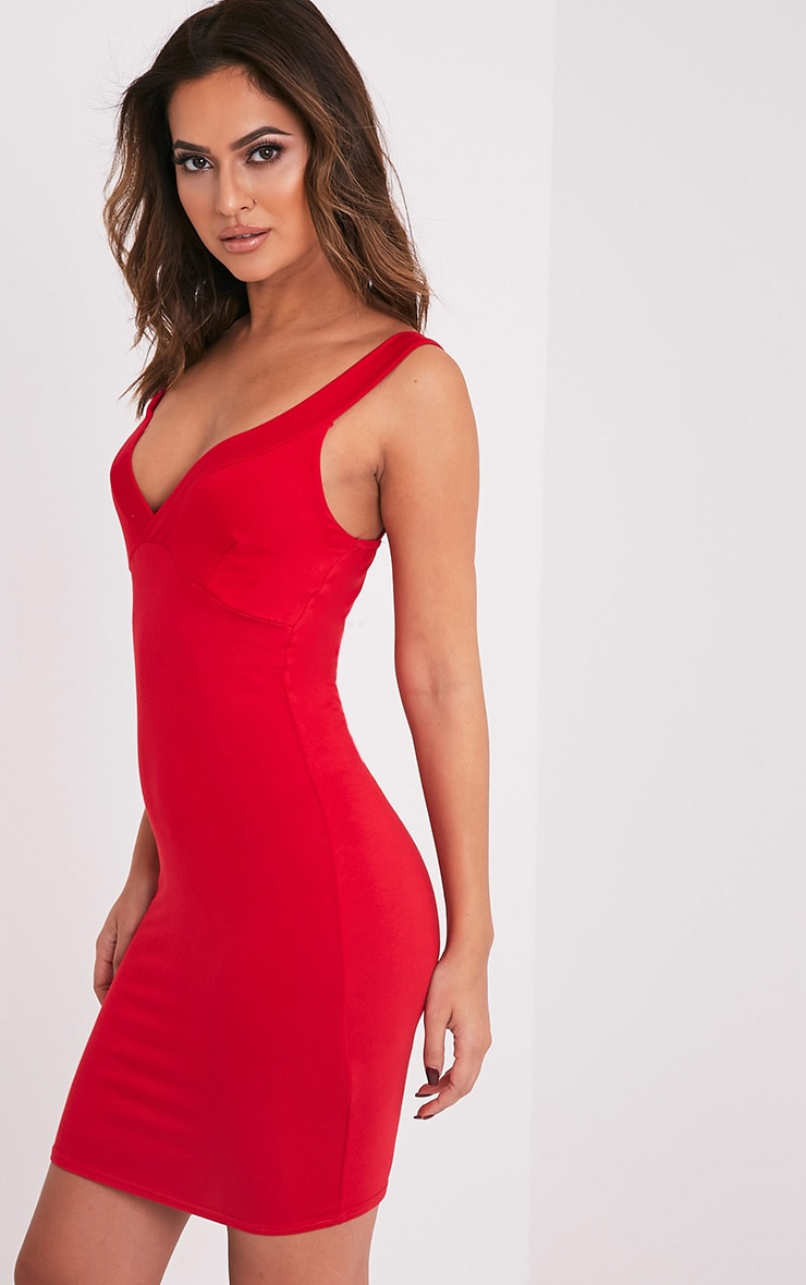 Rachie robe rouge près du corps à décolleté plongeant et bretelles 4