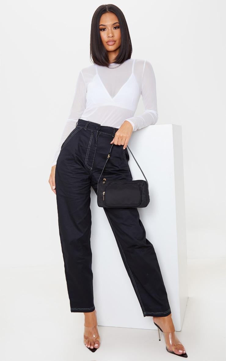 Black Contrast Stitch Cargo Trouser 1