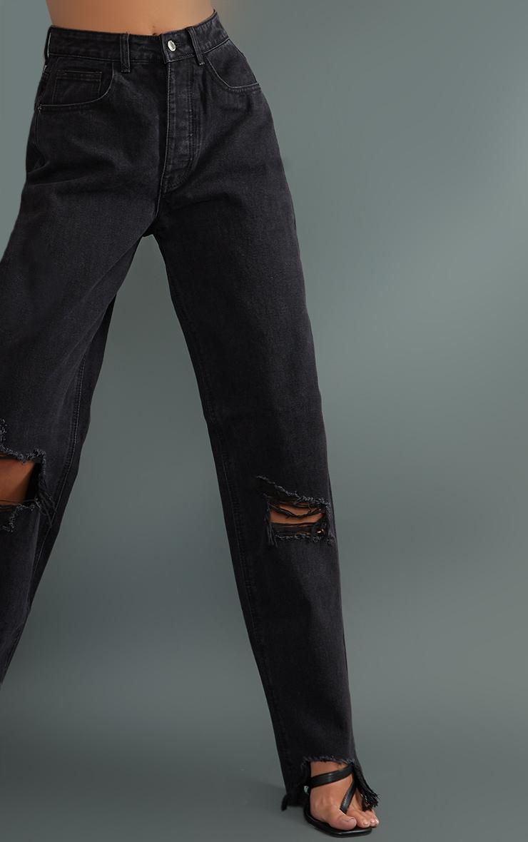 PRETTYLITTLETHING Tall Washed Black Ripped Hem Boyfriend Jeans 4