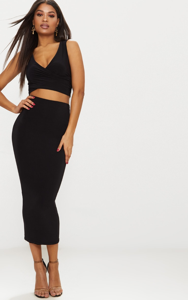 Black Slinky Wrap Plunge Crop Top  4