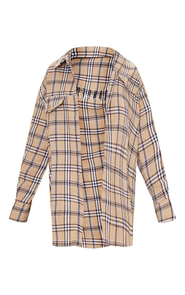 PRETTYLITTLETHING Petite Stone Print Checked Oversized Shirt 5
