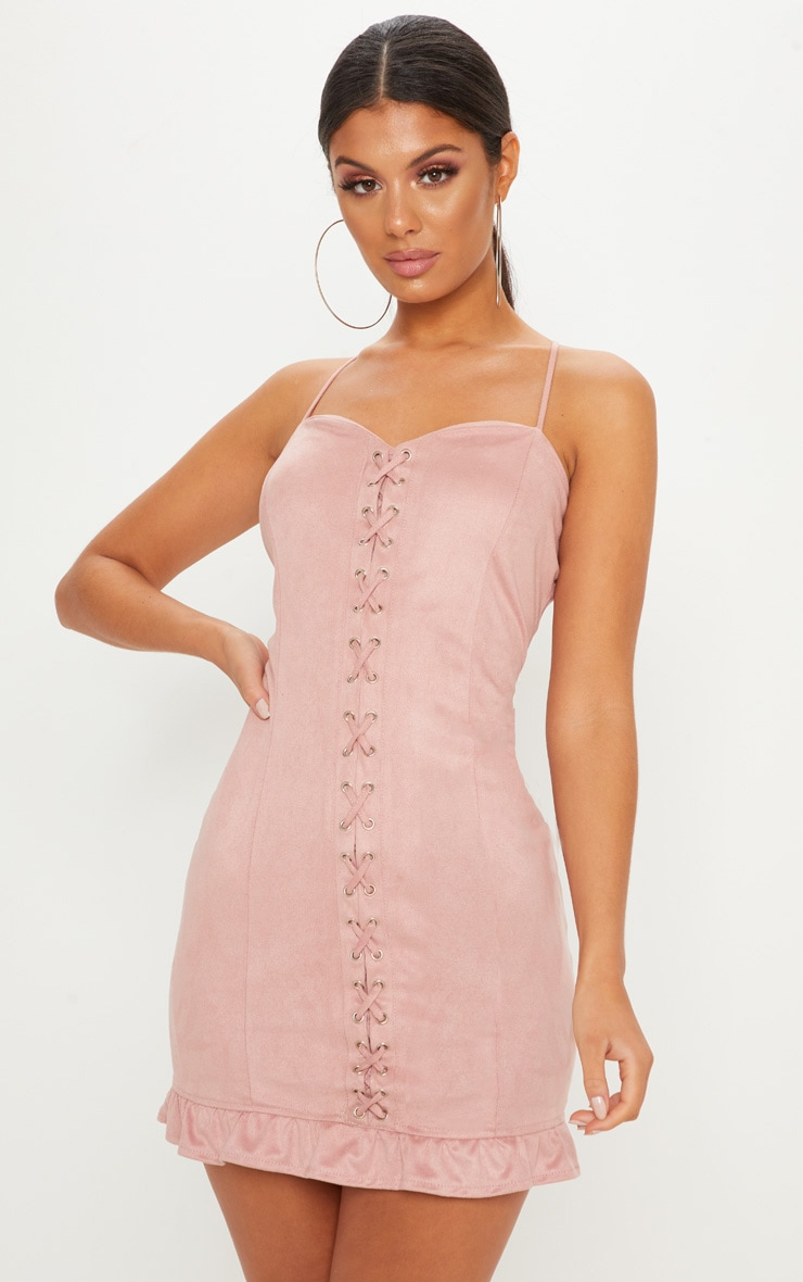 Rose Faux Suede Lace Up Detail Frill Hem Bodycon Dress