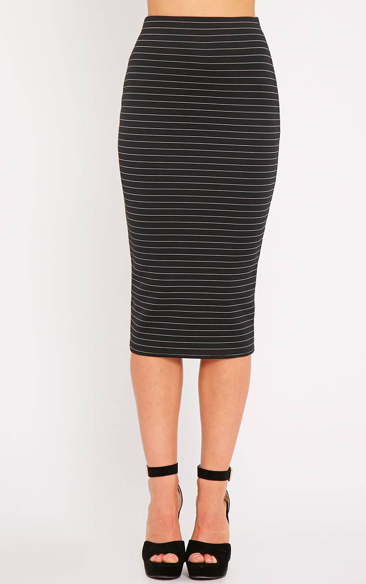 Liane Black Pinstripe Midi Skirt  2