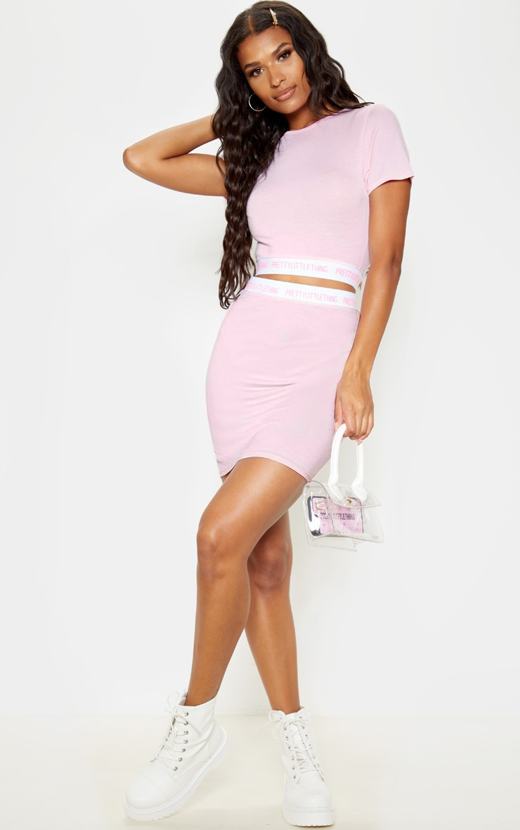 PRETTYLITTLETHING Pink Tape Crop Top 4