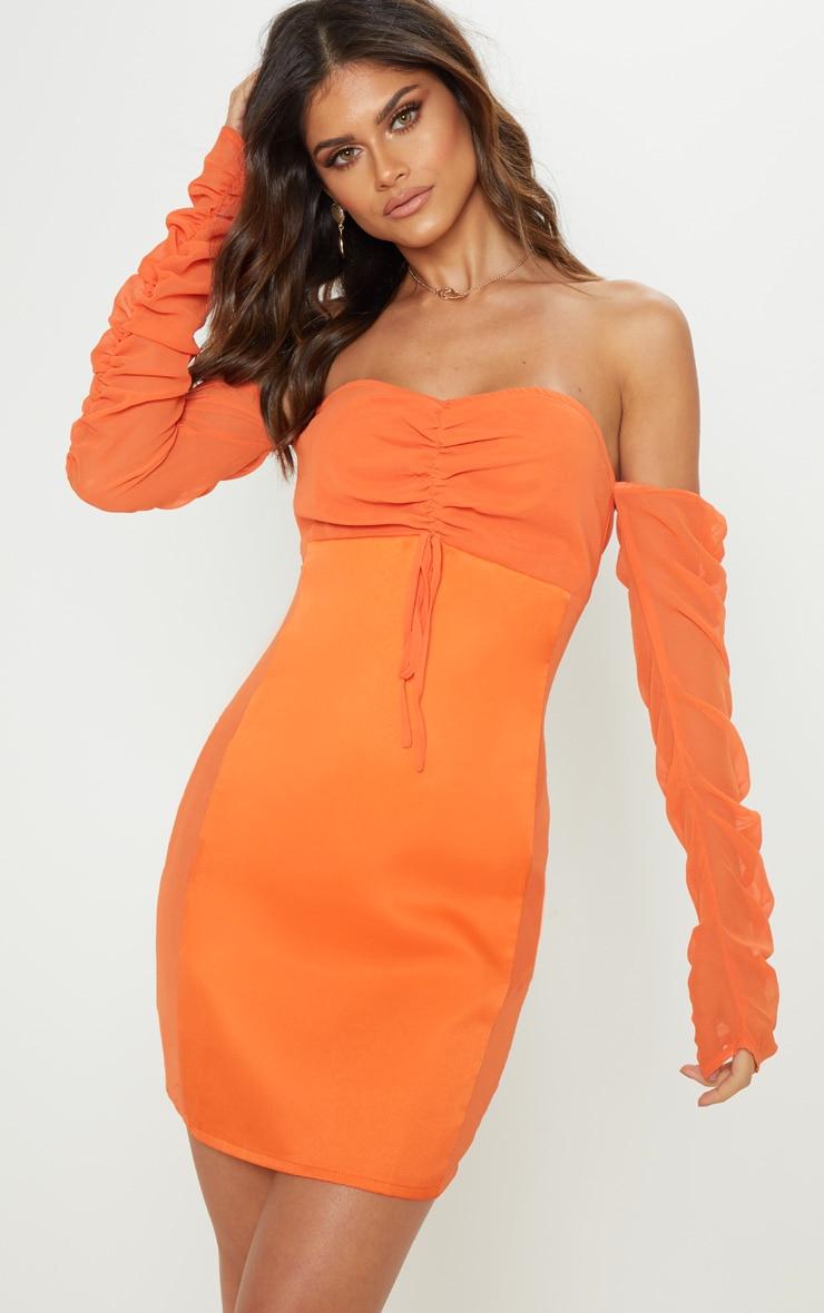 Bright Orange Mesh Ruched Bodycon Dress 1