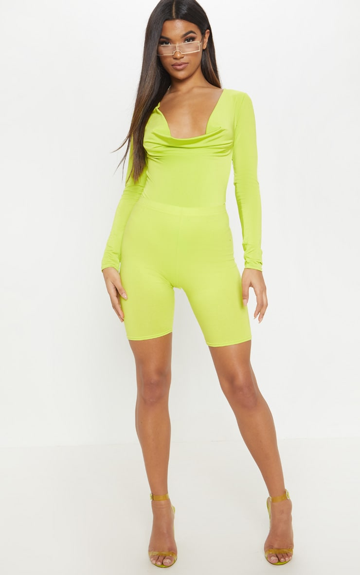 Lime Slinky Cowl Neck Long Sleeve Bodysuit 5