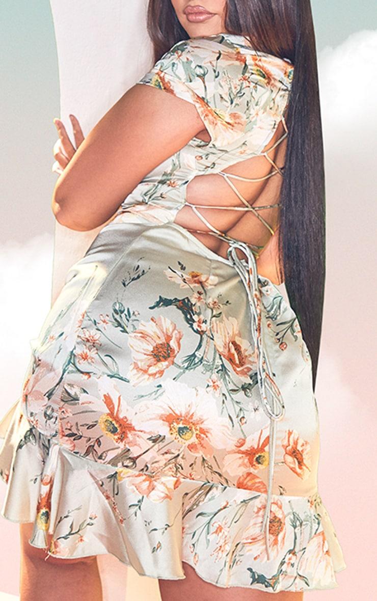 Plus Sage Green Floral Criss Cross Back Frill Hem Bodycon Dress 4