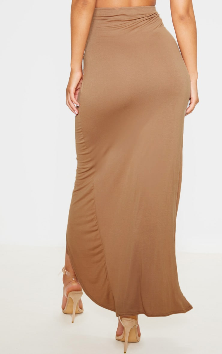 Camel Jersey Drape Front Maxi Skirt  4