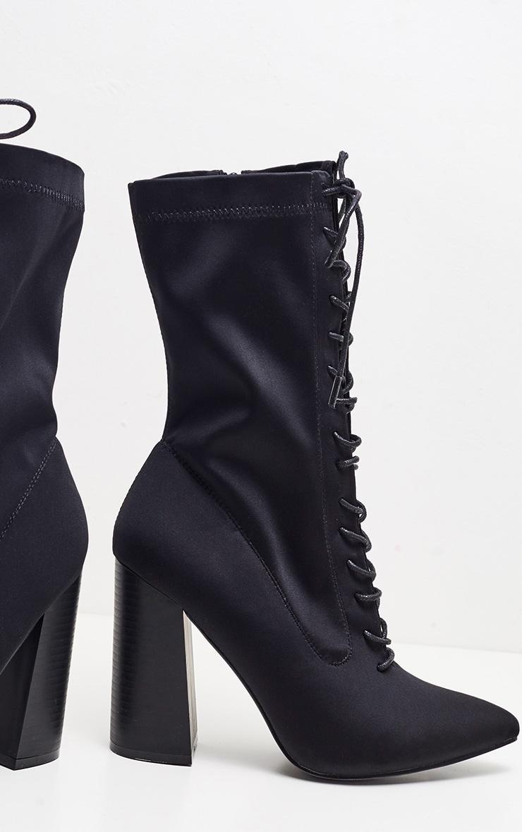 Black Block Heel Lace Up Lycra Sock Boot 3