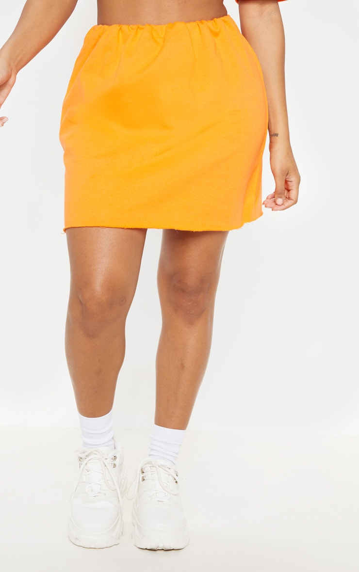Shape Orange Sweat Mini Skirt  2
