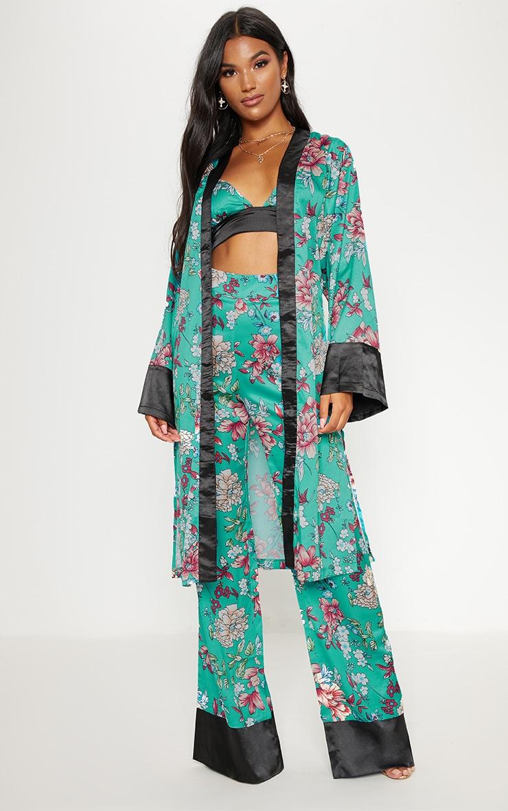 Blue Satin Oriental Kimono