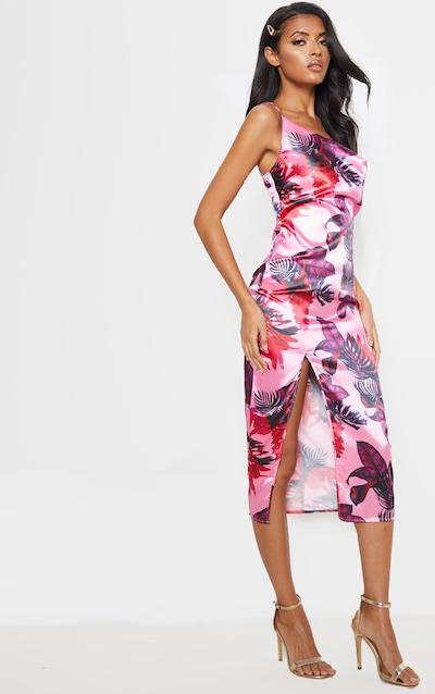 Pink Tropical Print Strappy Satin Cowl Midi Dress