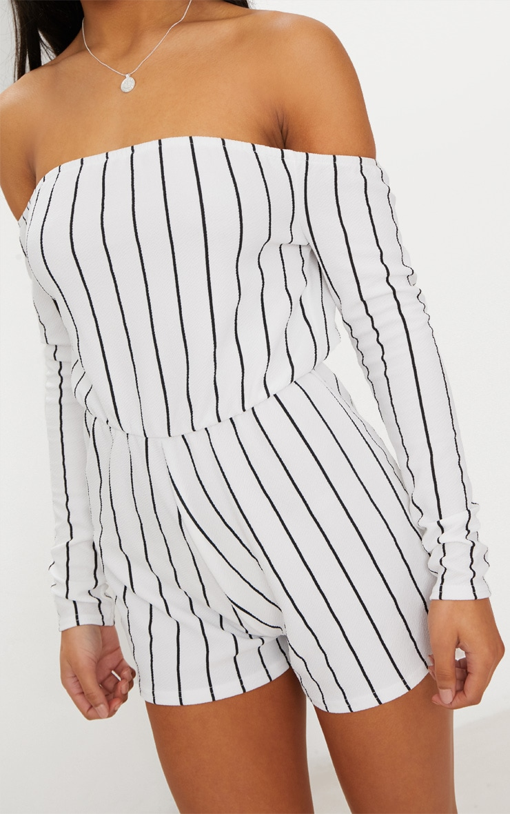 Micah White Stripe Playsuit  5