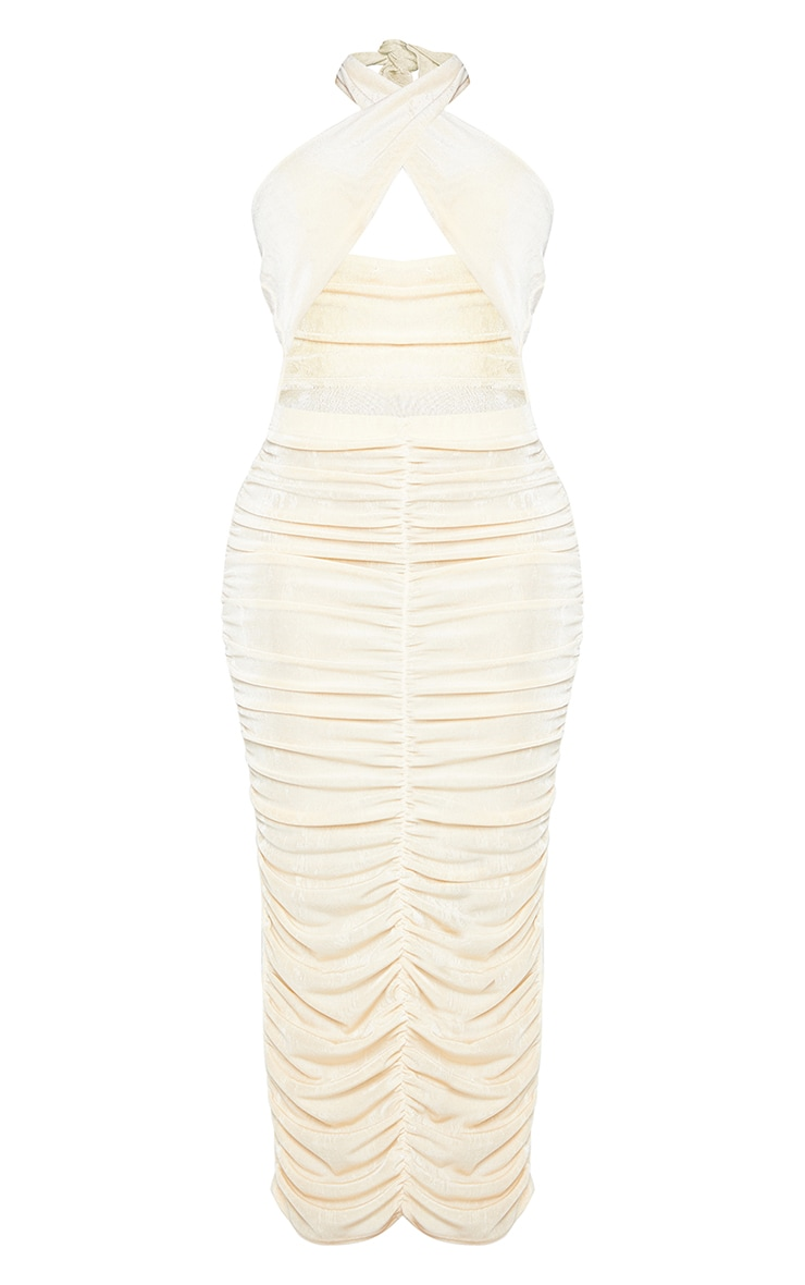 Shape Cream Acetate Slinky Wrap Front Ruched Midi Dress 5