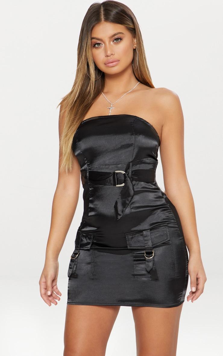 Black Satin Utility Bandeau Bodycon Dress by Prettylittlething