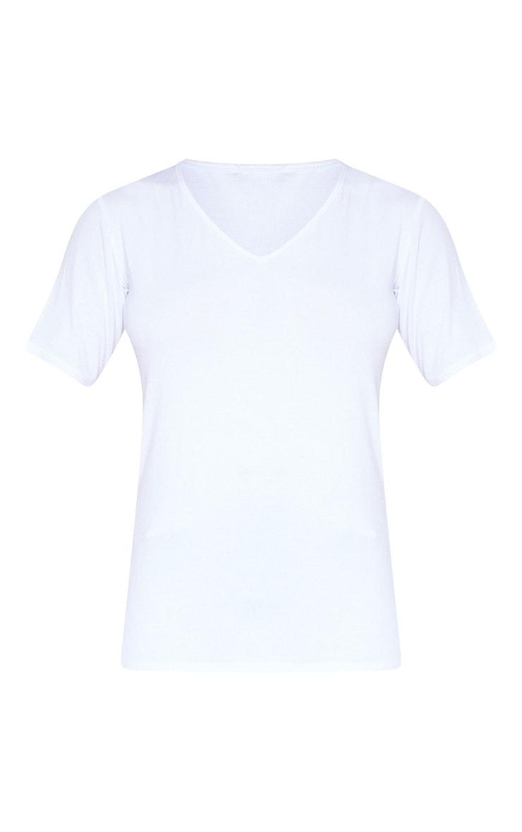 Tall White Basic V Neck T shirt 3