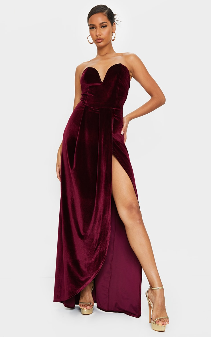 Burgundy Velvet Draped Wrap Detail Bandeau Maxi Dress 1