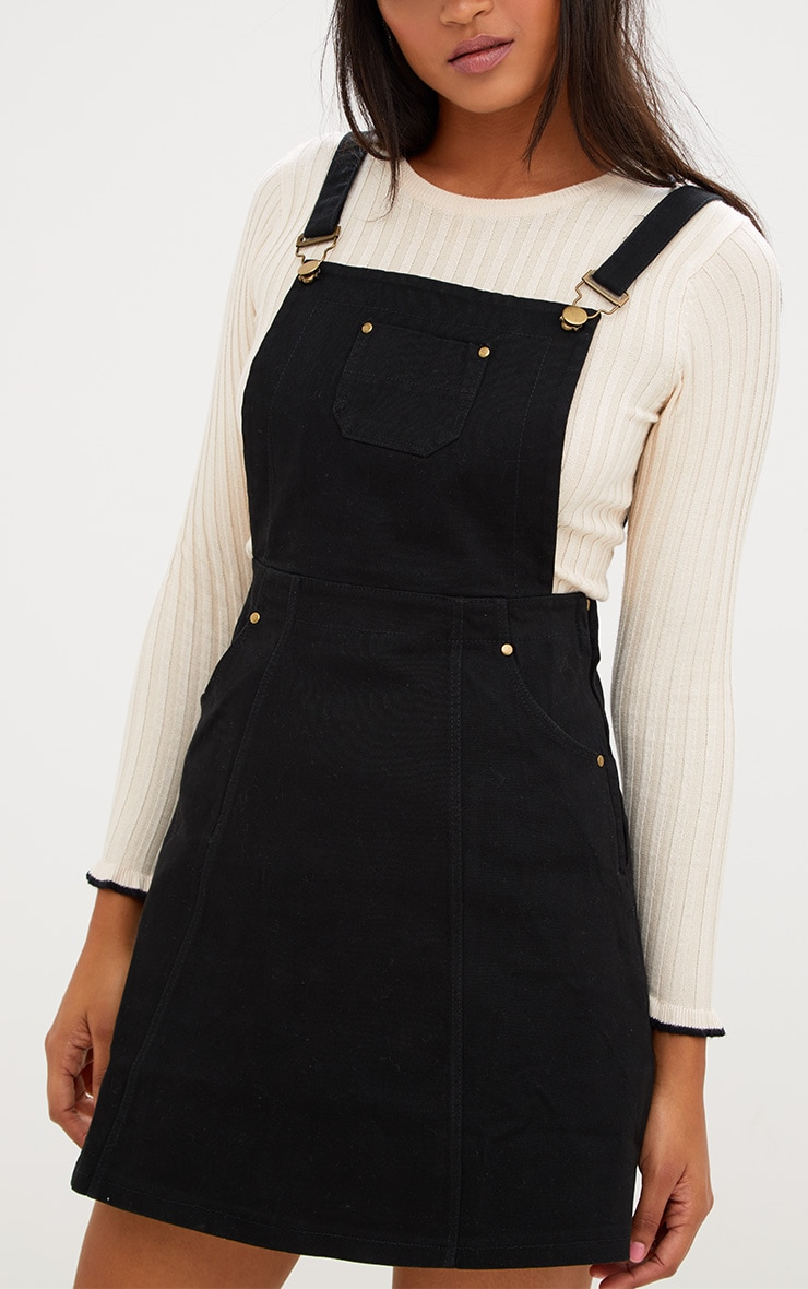 Martine Black Denim Pinafore Dress 5