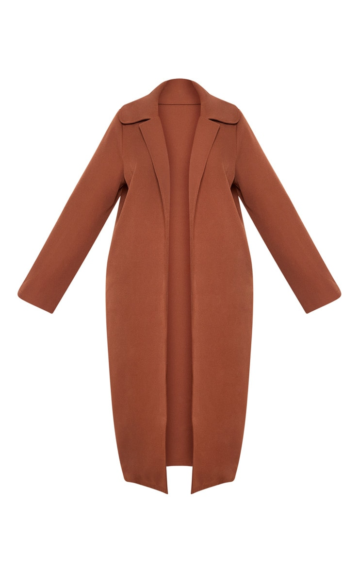 Plus Chocolate Brown Longline Duster Coat 3