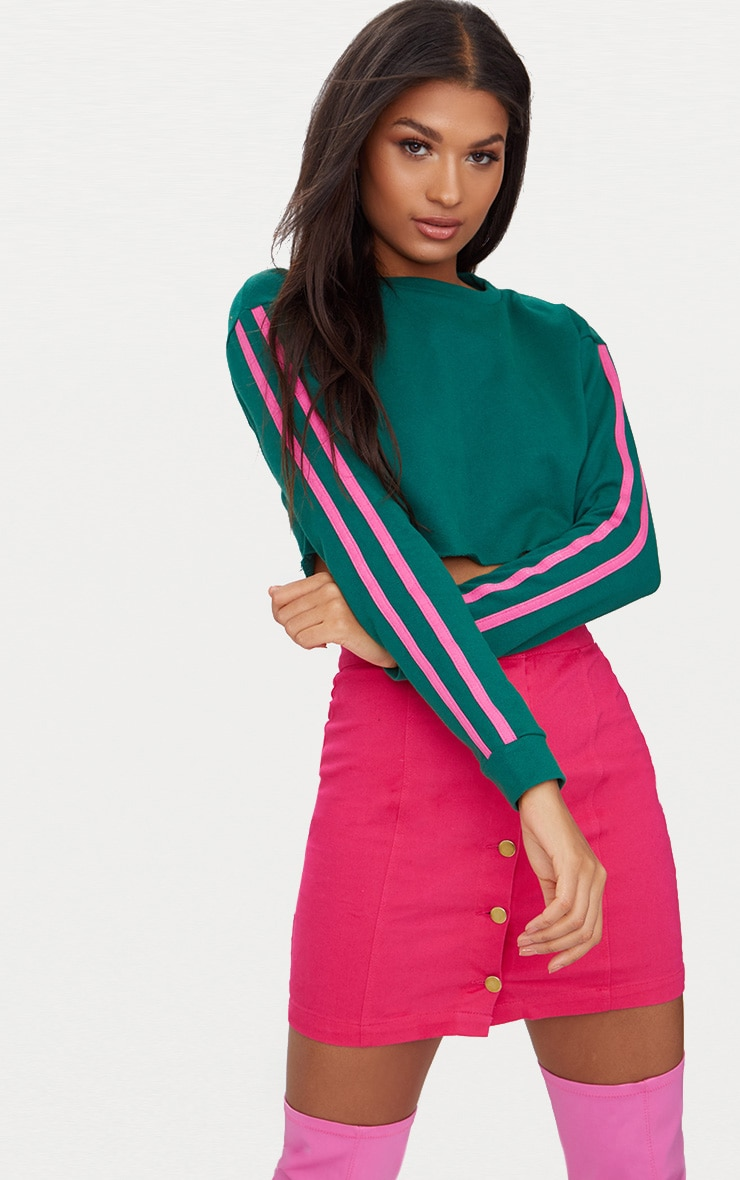 Emerald Green Stripe Sleeve Crop Sweater 1