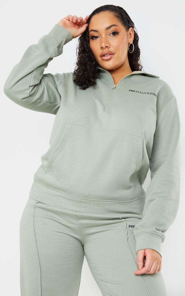 PRETTYLITTLETHING Plus Sage Khaki Half Zip Sweater