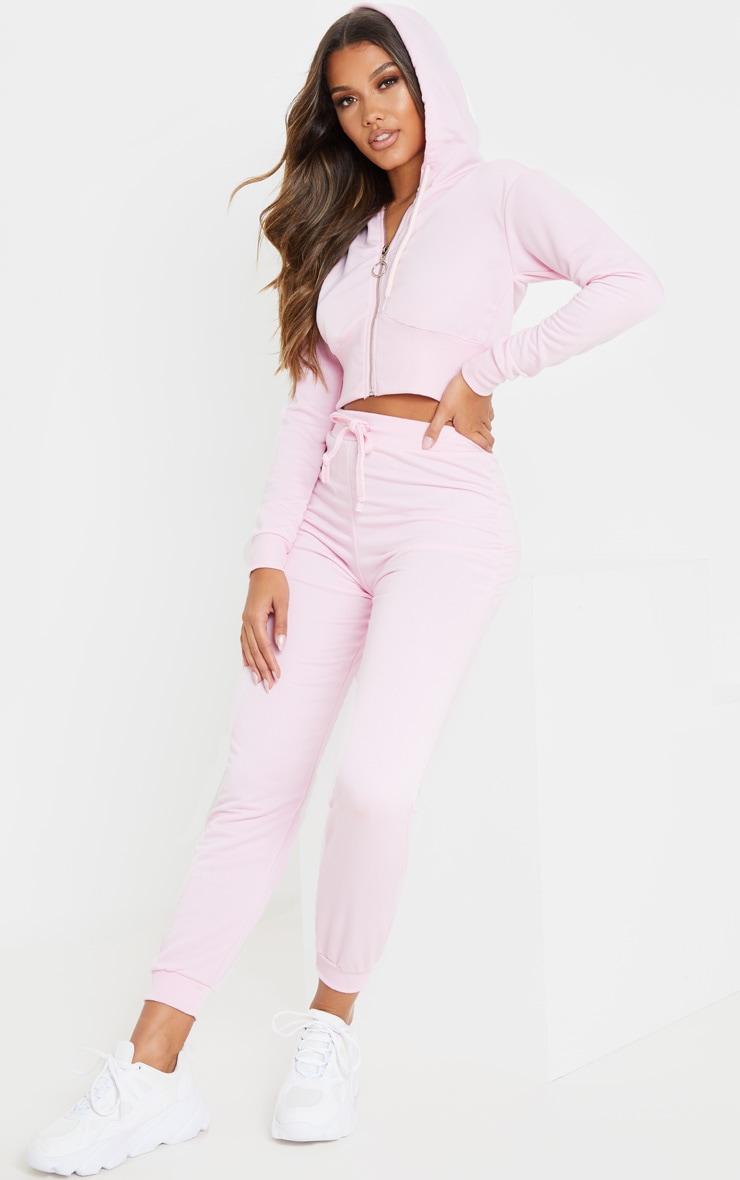 Light Pink Zip Up Bustier Hoodie 4