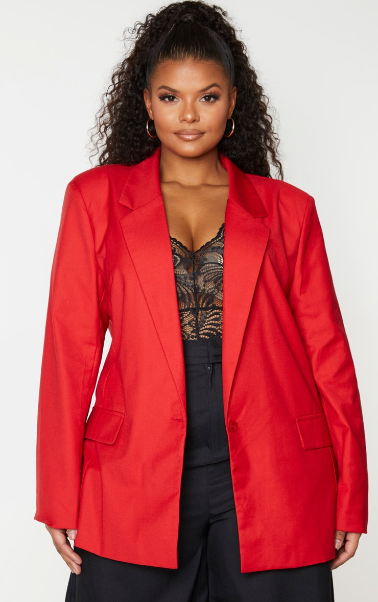 Plus Red Longline Oversized Woven Blazer 1