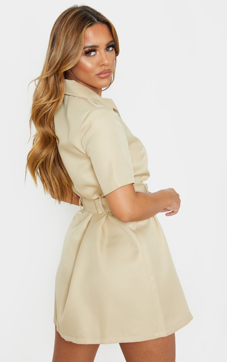 Petite Stone Zip Detail Belted Utility Dress 2