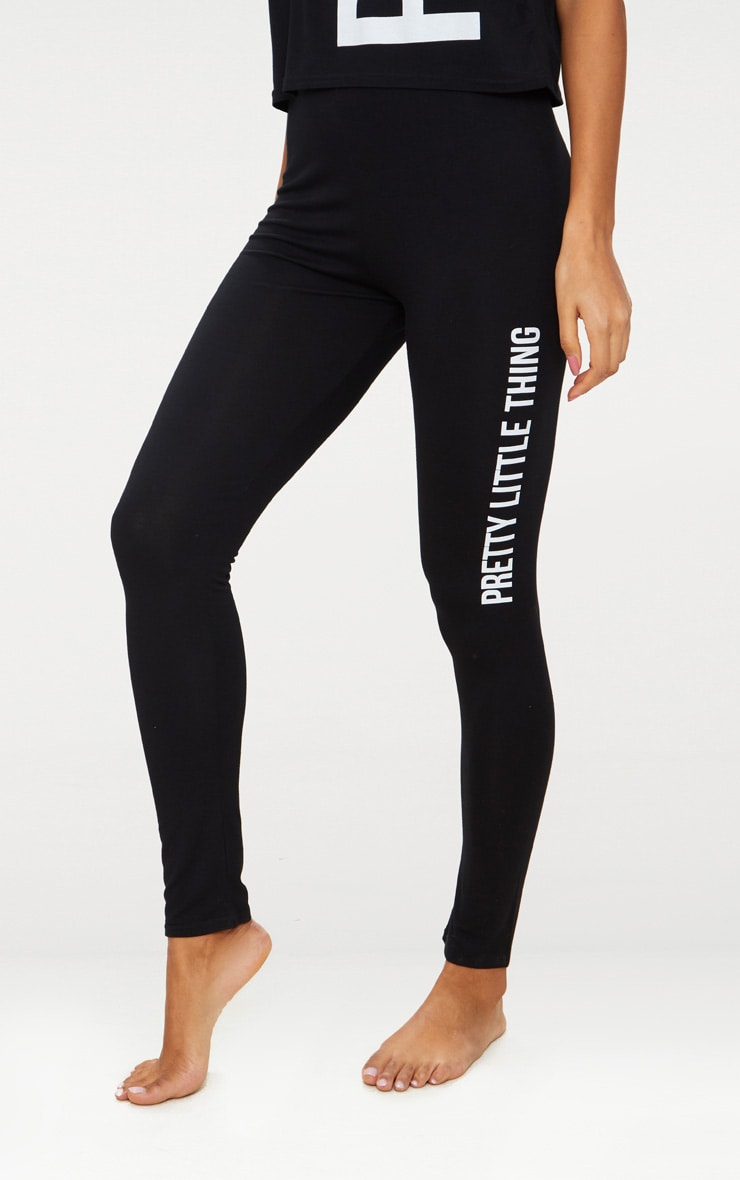 PRETTYLITTLETHING Black Legging Pyjama Set 5
