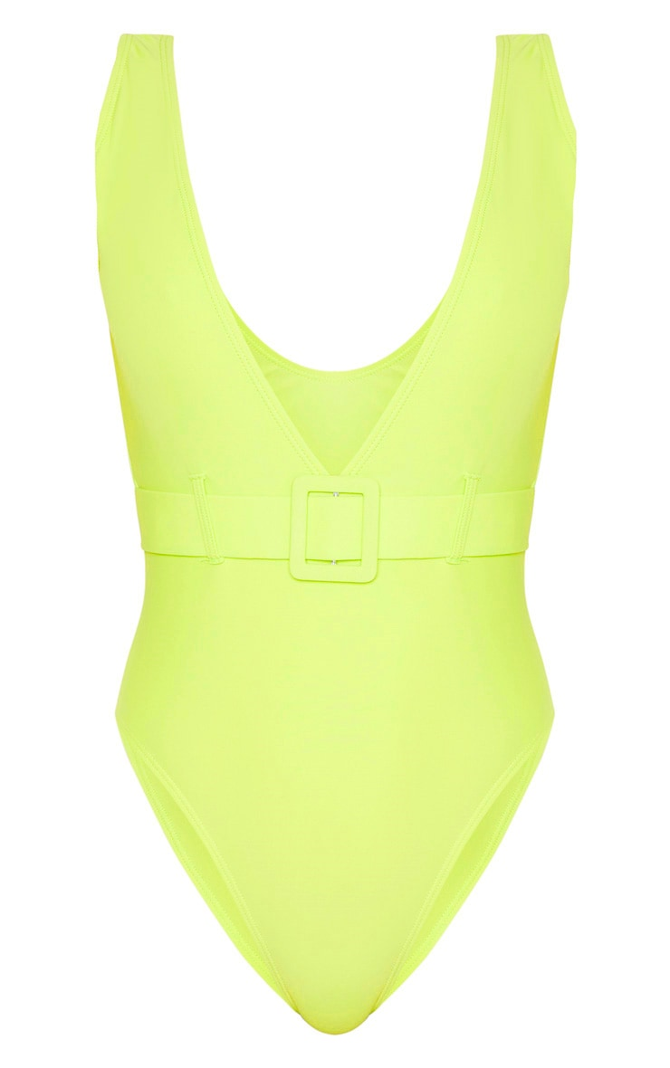Light Lime Plunge Belted Swimsuit 3