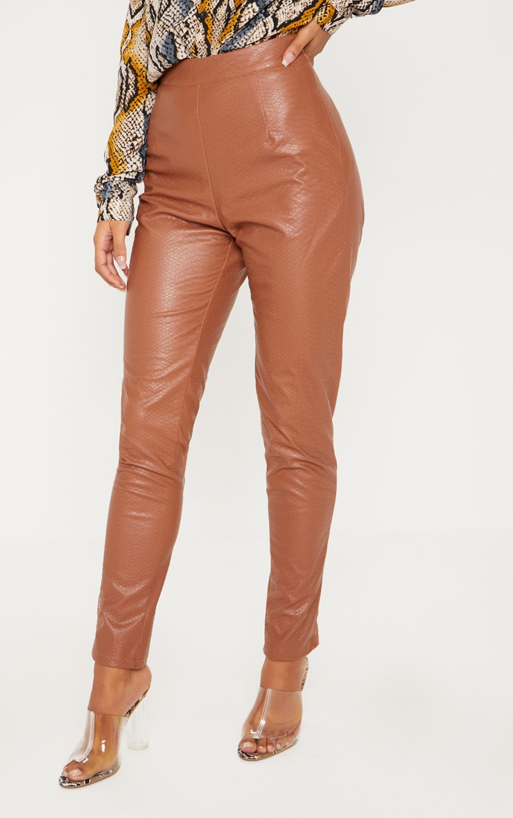 Tan Faux Leather Embossed Snakeskin Skinny Trouser 2
