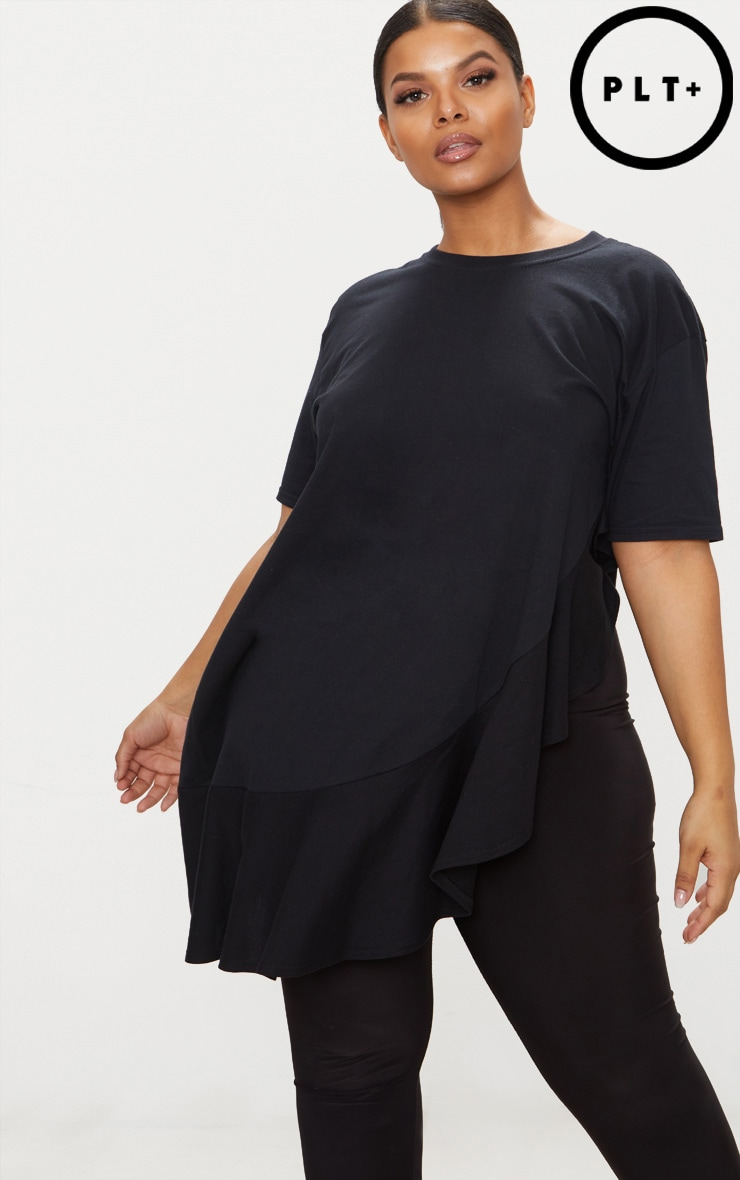 Plus Black Frill Detail Oversized T-Shirt 1
