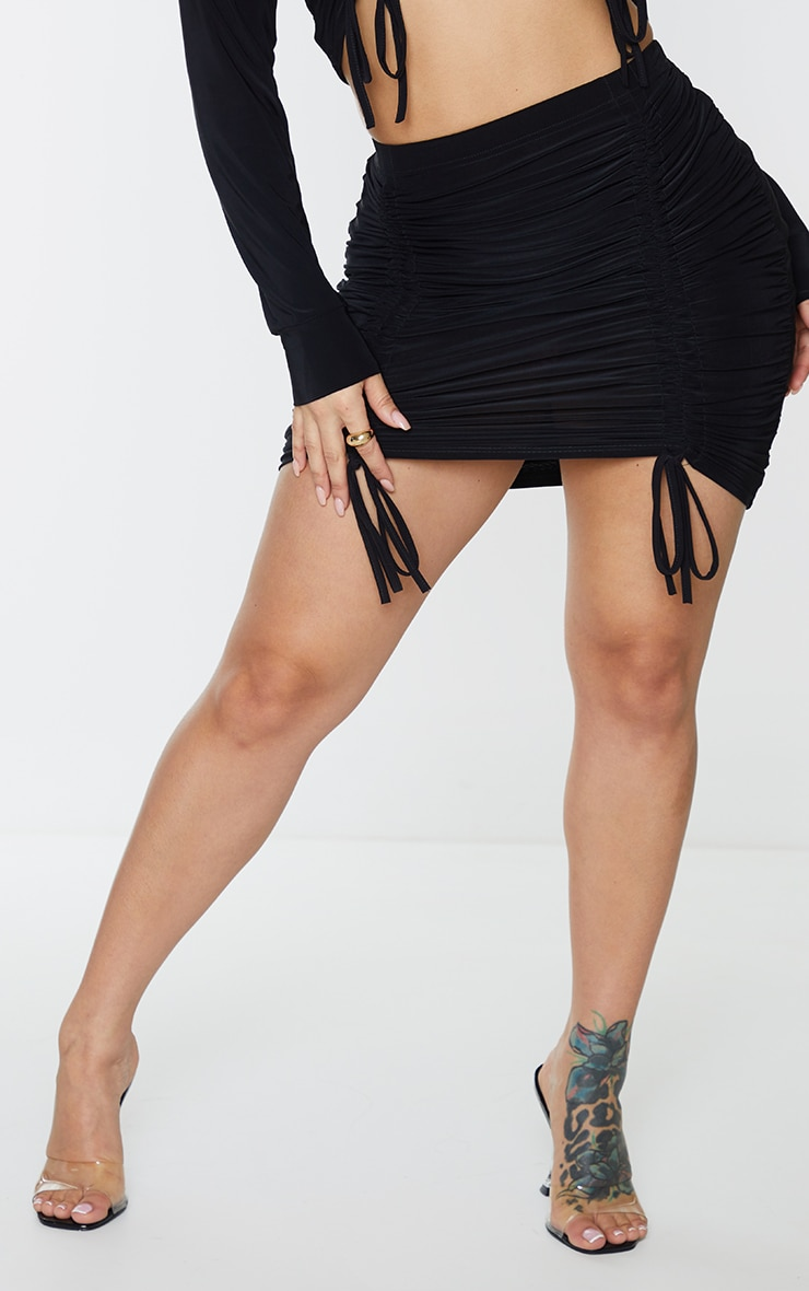 Shape Black Slinky Extreme Ruched Bodycon Skirt 2