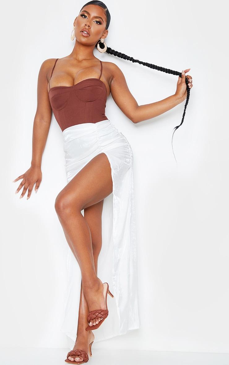 White Sheer Ruched Side Split Leg Maxi Skirt 1