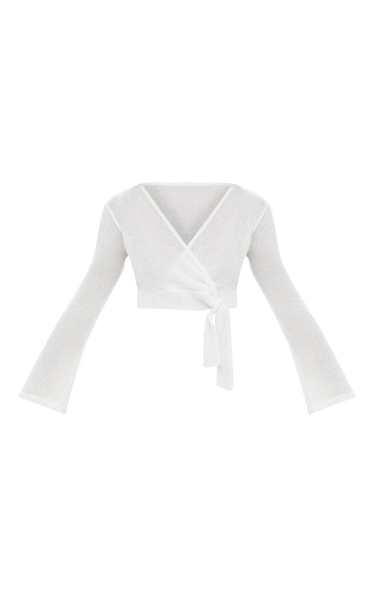 Cream Lightweight Knit Wrap Tie Longsleeve Crop Top 3