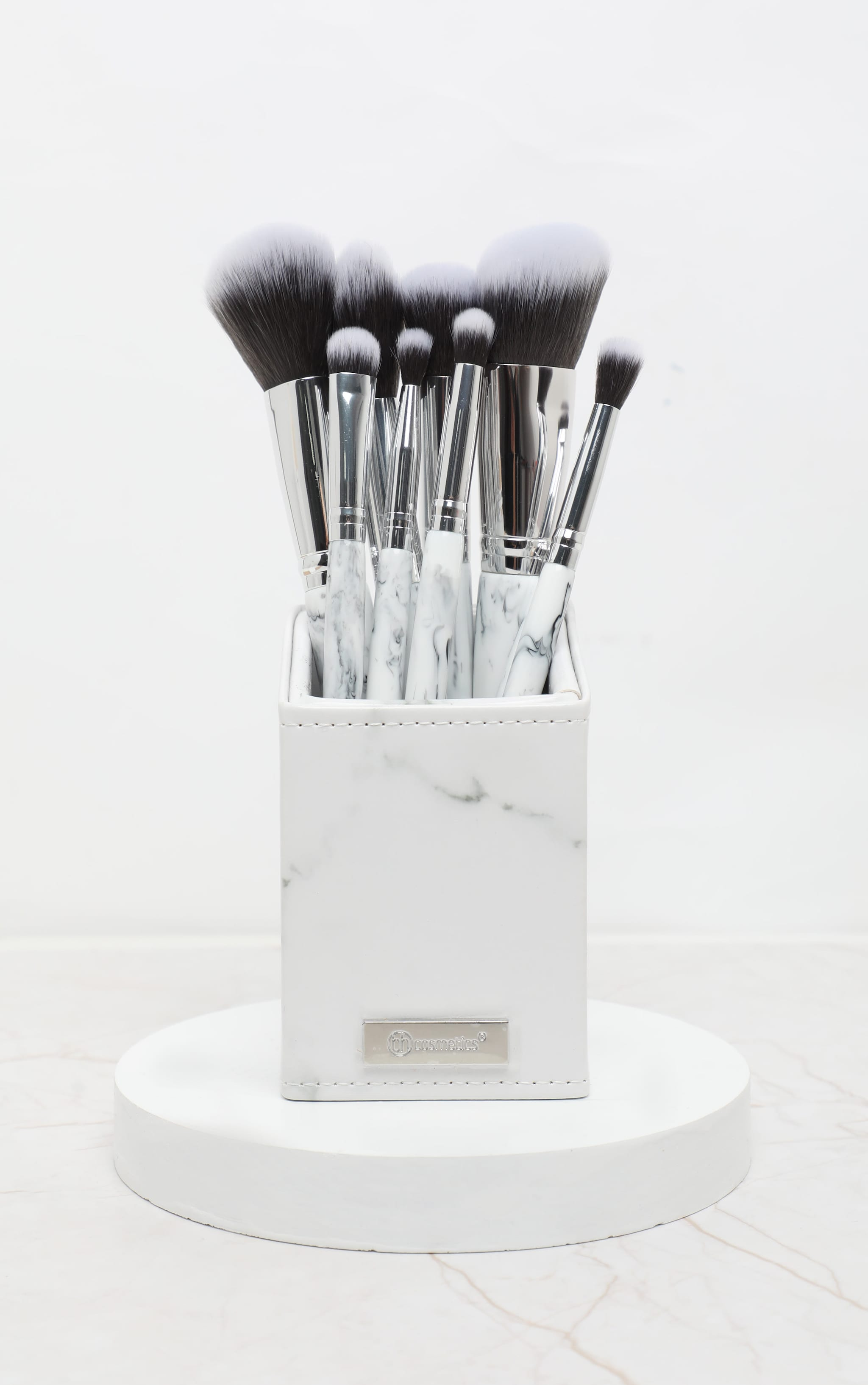 BH Cosmetics White Marble 9 Piece Brush Set with Holder 1