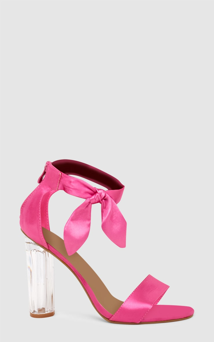 Pink Satin Bow Clear Heel Sandal 3