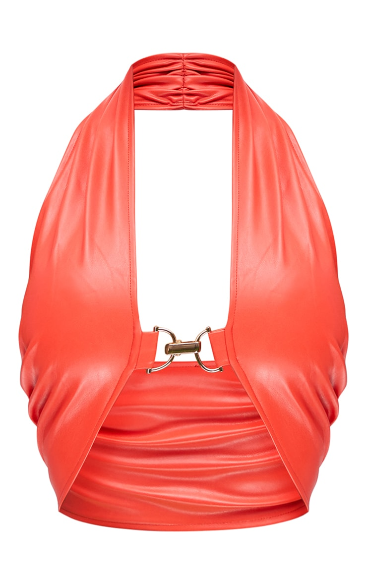 Orange Faux Leather Metal Trim Detail Underbust Halterneck Crop Top 5