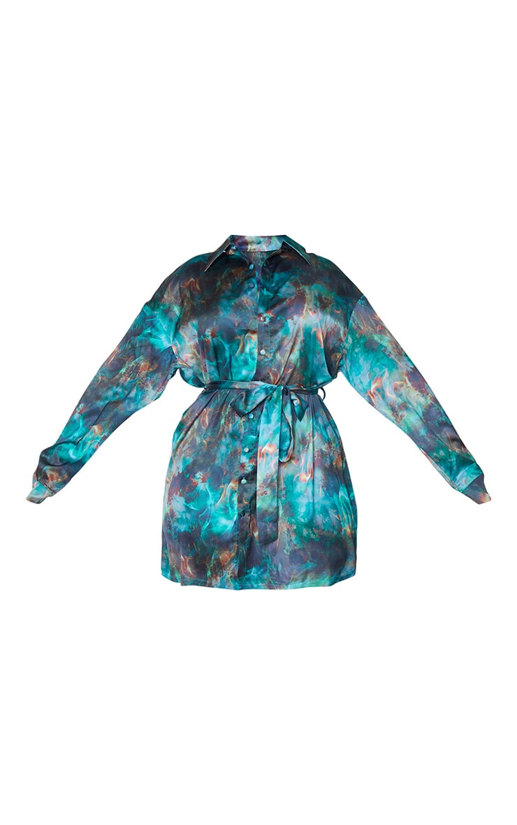 Plus Green Flame Tie Dye Printed Tie Waist Shirt Dress 5