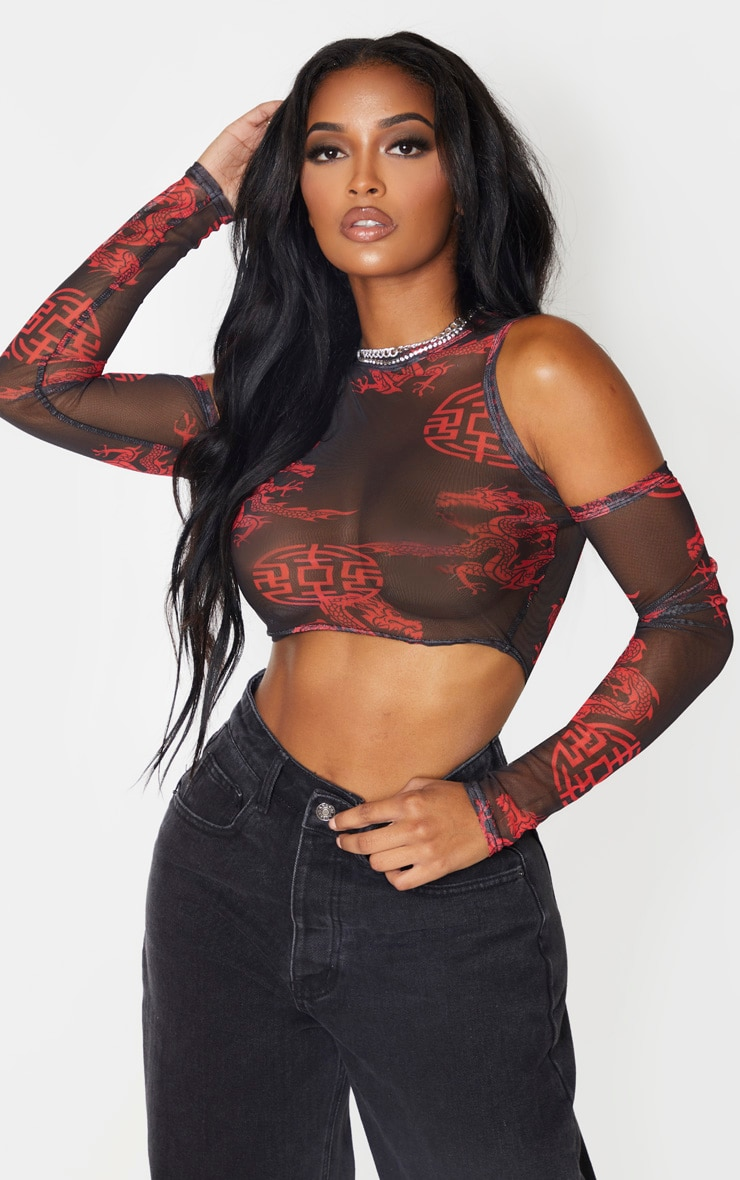 Shape Black Print Print Ruched Sleeve Cold Shoulder Crop Top 1