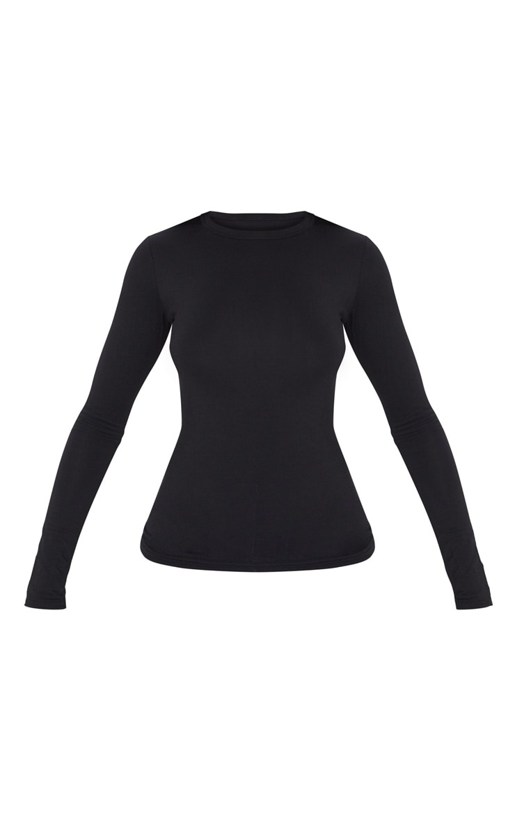 Black Basic Longsleeve Fitted T Shirt  3