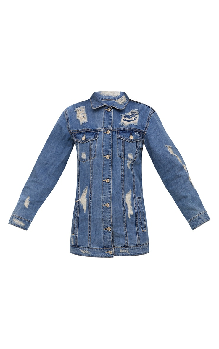 Mid Wash Distressed Long Line Denim Jacket 3