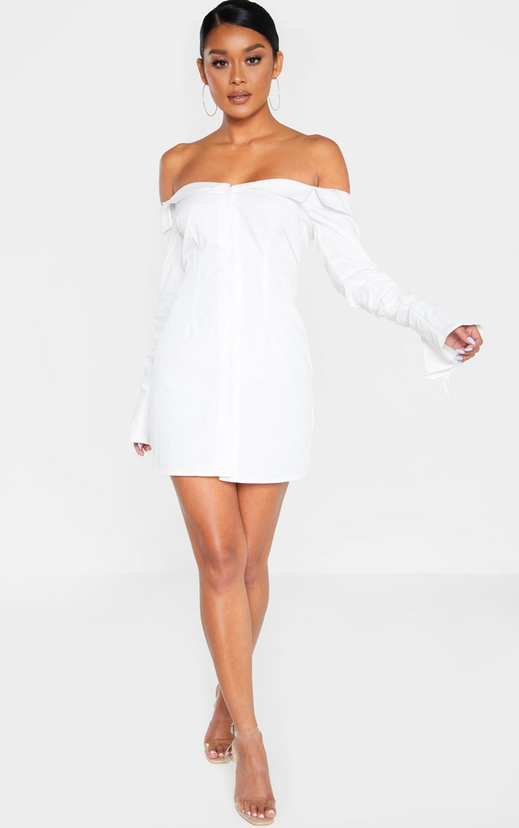 White Bardot Ruched Sleeve Shirt Dress 4