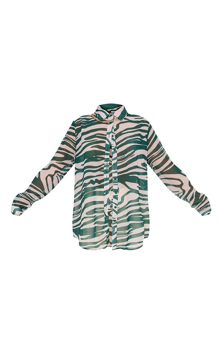 Khaki Zebra Print Chiffon Oversized Shirt 5