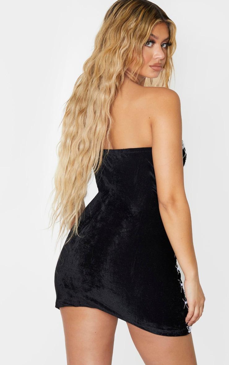 PREMIUM - Mini robe bandeau en velours noir à perles et ornements 2