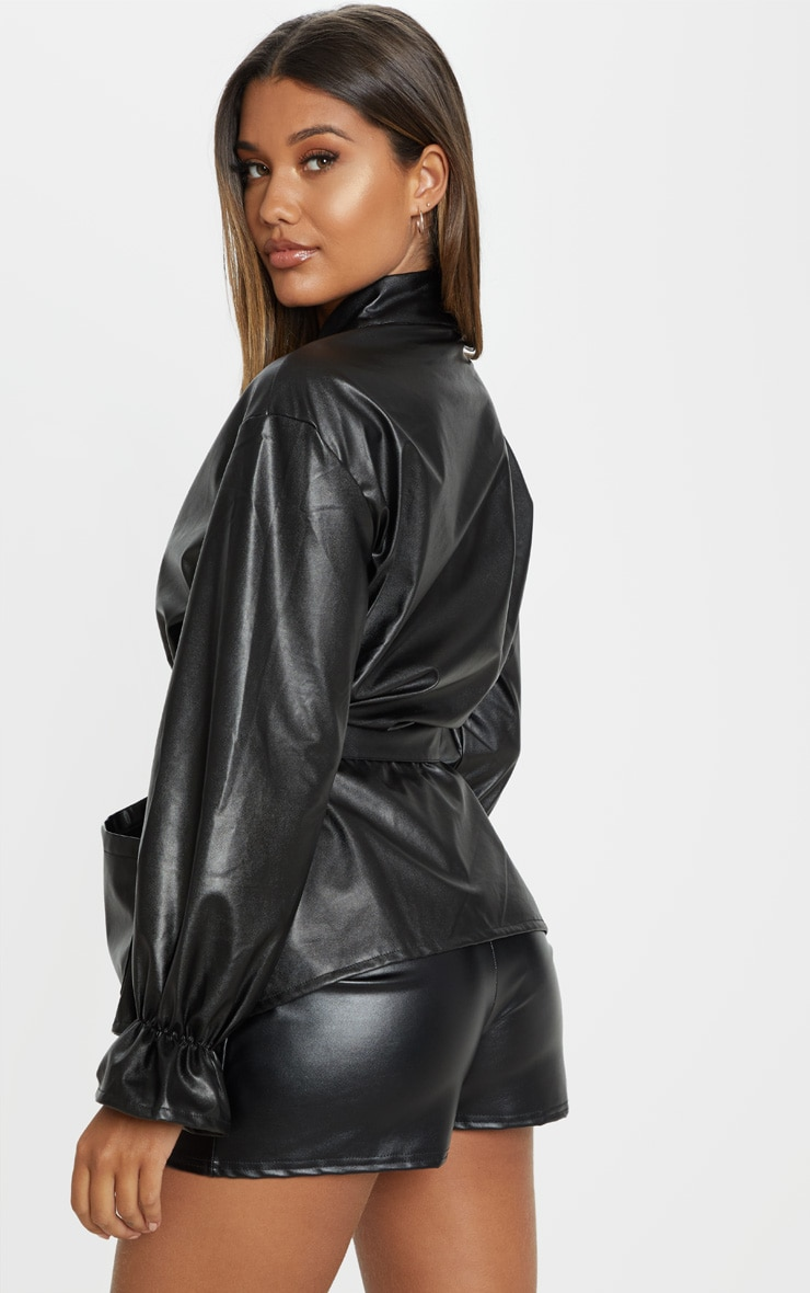 Black Faux Leather Zip Front Belted Top 2